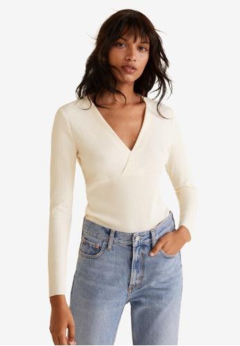 Mango white Ribbed V-Neck T-Shirt 471F6AAE055D8EGS_1