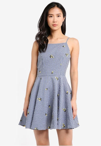ZALORA navy Halter Neck Fit & Flare Dress 1096AAAF2D1AE2GS_1