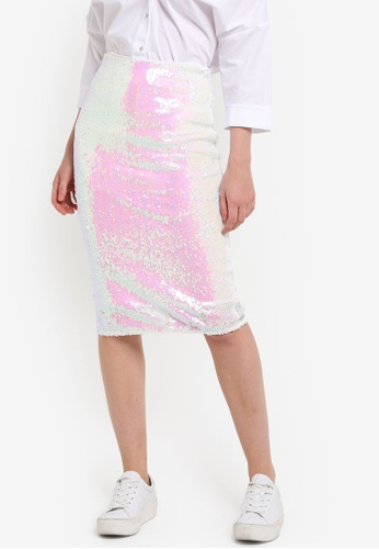 Miss Selfridge multi Irridecent Sequin Pencil Skirt MI665AA97DDYMY_1