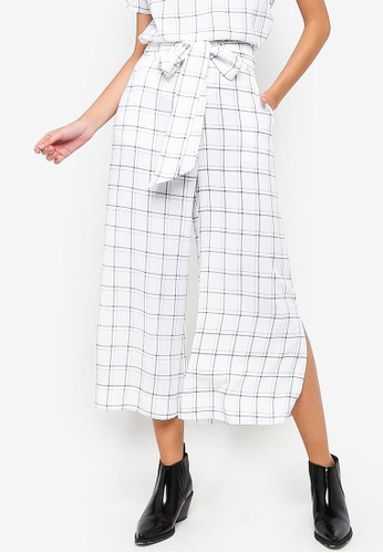 ZALORA multi and navy Wide Leg Pants With Slits C445AAAE13AC26GS_1
