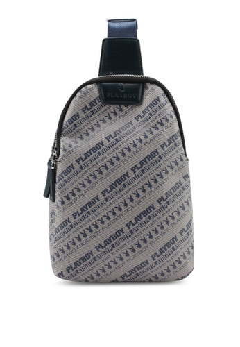 Playboy blue and beige Playboy Chest Bag PL371AC0SMBXMY_1