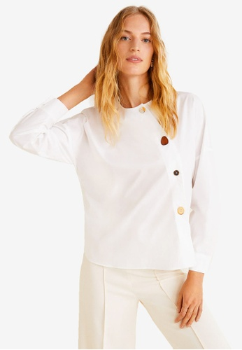 Mango white Buttoned Cotton Shirt 68FBCAACC15A98GS_1