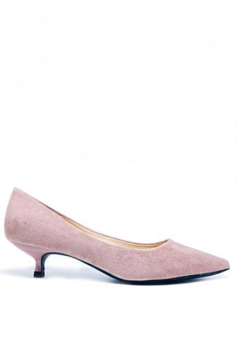Twenty Eight Shoes 粉紅色 3.5CM尖頭絨面高踭鞋295-1 22460SH5674A52GS_1