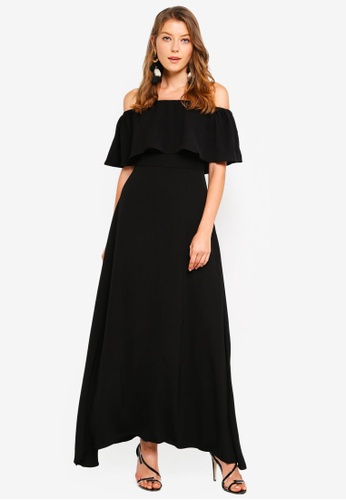 Preen & Proper black Off Shoulder Maxi Dress 4A3AFAA38BBE03GS_1