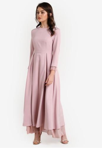 Zalia pink Pleated Mesh Layer Dress 14699AAA1B7AE2GS_1