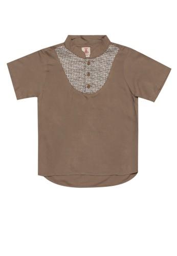 Tiny Button brown Boy Band Collar Modern Rami Shirt F4967KA3FF21DEGS_1