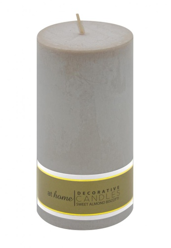 At Home grey Sweet Almond Scented Pillar Candle 2x4 B9B86HLE644208GS_1