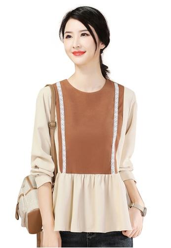 A-IN GIRLS beige Fashion Round Neck Stitching Top 38782AA9E41C47GS_1