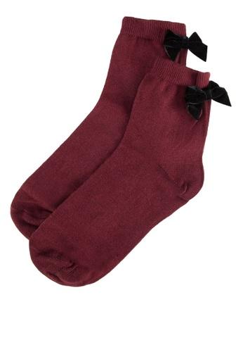 Dorothy Perkins red Wine Velvet Bow Socks 2849BAA6A51F87GS_1