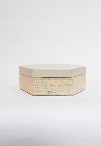 Grassroots grey Hexagonal Box (Small) 6A7B1HL3245A97GS_1