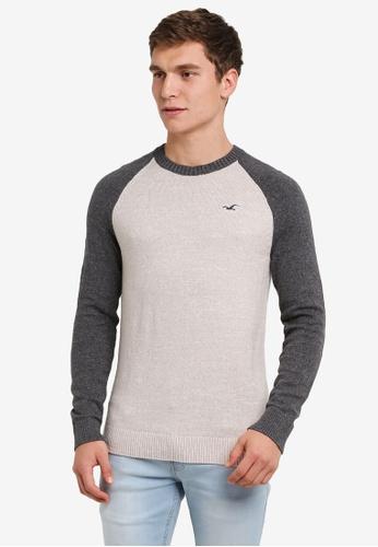 Hollister grey and beige Falem Crew Knitwear Jumper HO422AA0S3AWMY_1