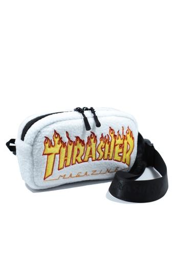 THRASHER white THRASHER FLAME FLEECE WAIST BAG 405ADACF8D7D7BGS_1