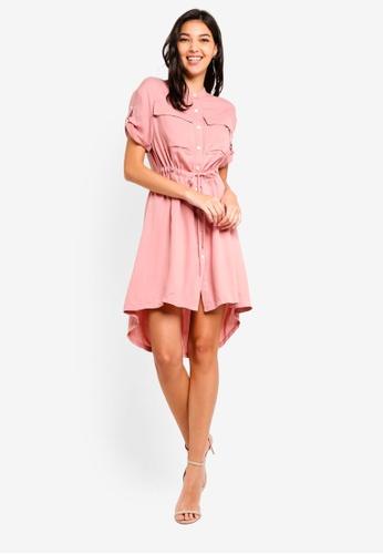ZALORA pink Pull String Safari Shirt Dress 82E5FAA4679692GS_1