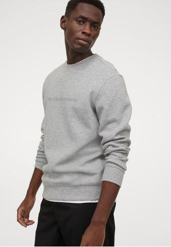 H&M grey Text-Motif Sweatshirt 4C3DCAA94B7947GS_1