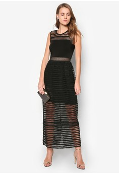 Premium Lace Insert Midi Dress