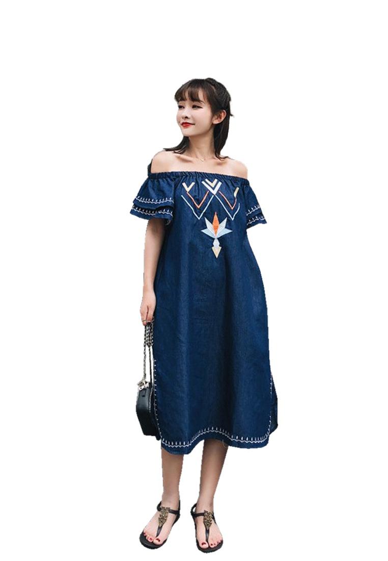 Off 2018 One Piece A052219BL Dress New Shift Blue Shoulder Sunnydaysweety vwRw5qA