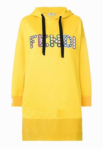 FENDI yellow Fendi Studded Logo Hoodie in Yellow 01038AA06B6CA2GS_1