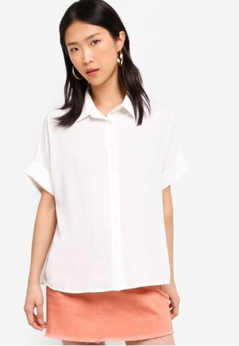 ZALORA BASICS white Basic Short Sleeves Shirt 48920AA01E4888GS_1