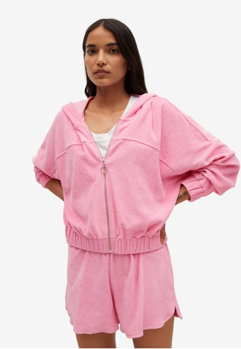 Mango pink Cotton Towel Texture Sweatshirt A4240AADFE3C1CGS_1