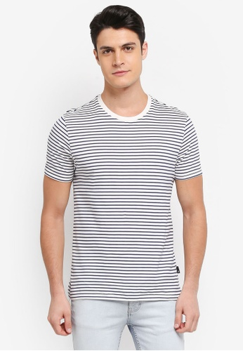 Burton Menswear London white Ecru Stripe T-Shirt AC94BAAFB5F4A3GS_1