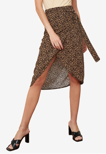 Trendyol brown Printed Buckle Wrap Skirt DD5E8AABE16072GS_1