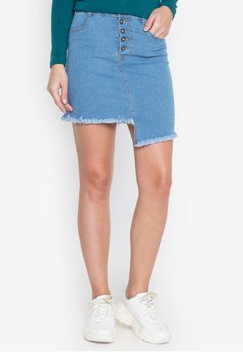 Ninety Nine Point Nine Boutiq blue Denim Mid-Waist Frayed Mini Skirt 692C3AAC6AE594GS_1