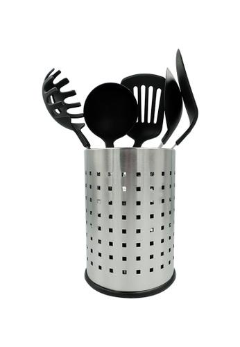 METRO black 5pcs Nylon Kitchen Tool Set with Stainless Steel Holder 15857HL4A3896DGS_1