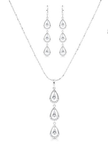 SO SEOUL silver Everleigh Teardrop Diamond Simulant Hoop Earrings and Necklace Set 548E2ACB8E0A18GS_1