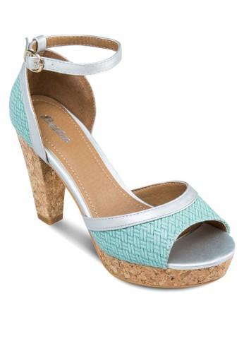 暗紋露趾厚底粗跟鞋,zalora 衣服評價 女鞋, 厚底鞋
