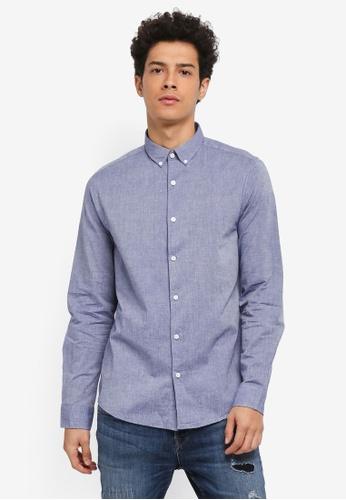 Only & Sons blue Tailor Melange Napp Shirt 28D0AAA38D4BDDGS_1