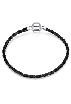 PDRH029 Refresh Black Leather Chain Lucky Bead DIY Bracelet(Silver Pleated)