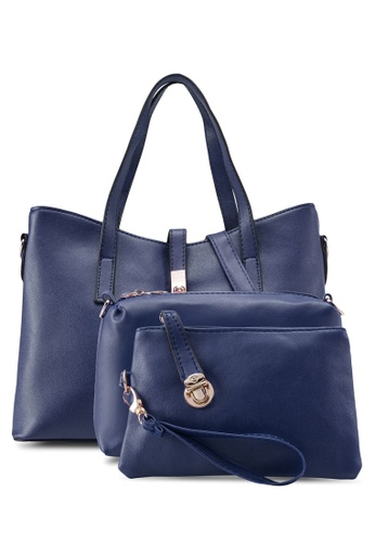 Bagstationz blue Bagstationz Faux Leather Tote Bag Set of 3 BA607AC97KISMY_1