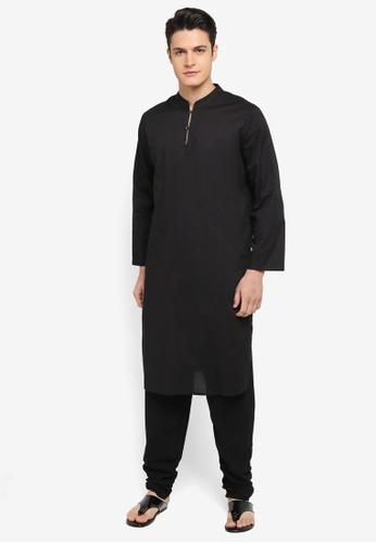 Rizalman for Zalora black Bajirao Mandarin Collar Kurta RI909AA0SF08MY_1