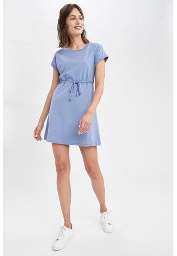 DeFacto 藍色 Short Sleeve Mini Dress CDE7EAA364DD02GS_1