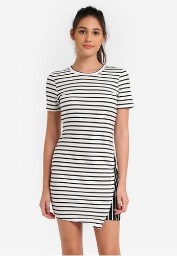 Something Borrowed black and white and multi Asymmetric Knit Bodycon Dress 66EDFAAB582926GS_1