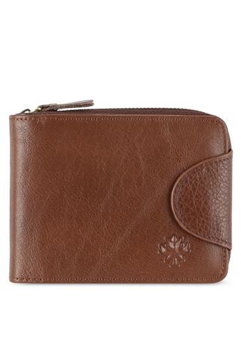 Lumberjacks brown Leather Zip Wallet LU545AC0RH0DMY_1