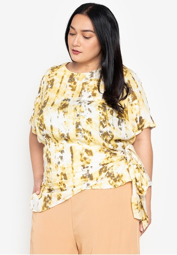 Maxine yellow Plus Size Short Sleeves Wrap Blouse D259CAAF626465GS_1