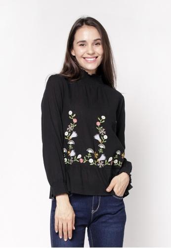 nicole black High Neckline Long Sleeve Embroidery Blouse EEDF2AA94087BBGS_1
