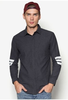 XM-Diagonal Stripe Long Sleeve Shirt