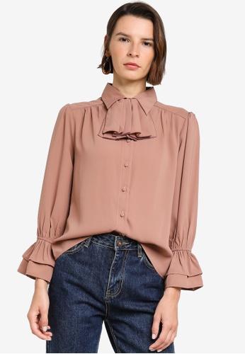 Zalia pink Ruffle Detail Shirt 969A1AAD3D1811GS_1
