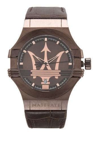 Maserati brown Potenza Men's Leather Strap Watch R8851108011 MA410AC95UUYMY_1