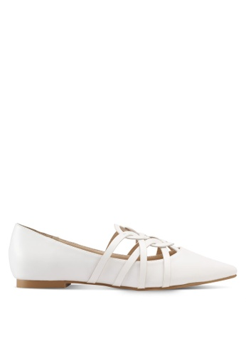 ZALORA white Faux Leather Ballerinas C58FASHD8B5A7EGS_1