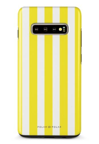 Polar Polar yellow Yellow Stripe Samsung Galaxy S10 Plus Dual-Layer Protective Phone Case (Glossy) B1527AC6157F75GS_1