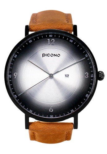 PICONO Watches black VINYL Minimalist Leather Strap Watch PI771AC2VUSBHK_1