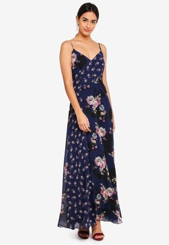Little Mistress blue and navy Floral Print Maxi Dress A6D0EAAB5AA819GS_1