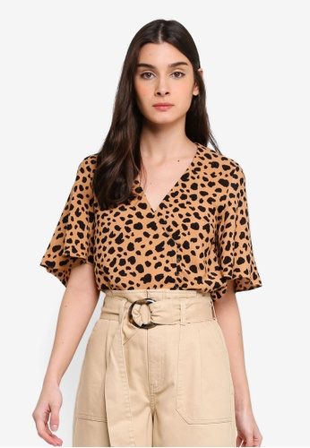 a95de5afcde1 Shop WAREHOUSE Animal Print Side Button Top Online on ZALORA Philippines