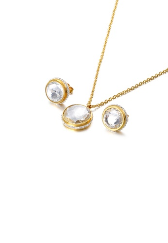 Glamorousky white Fashion Temperament Plated Gold Geometric Round 316L Stainless Steel Necklace and Stud Earring Set with White Cubic Zirconia BA2F8ACD4DA304GS_1