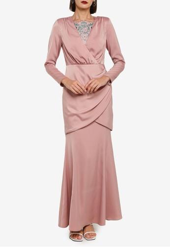 Zalia 粉紅色 Strong Shoulder Drape Top Kurung Set 86B1EAA21DC293GS_1