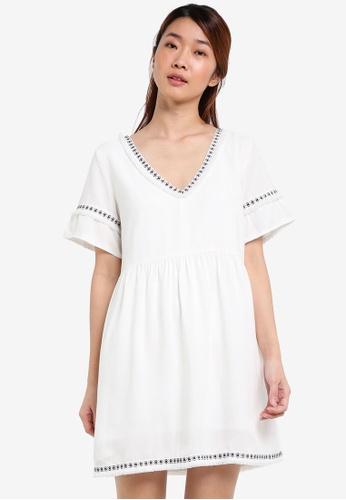 Something Borrowed white Fringe Trim Babydoll Dress 66ACDAA3EEDE76GS_1