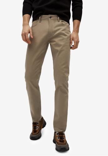 MANGO Man beige Slim Fit Denim-Effect Serge Trousers 83E39AA468921FGS_1